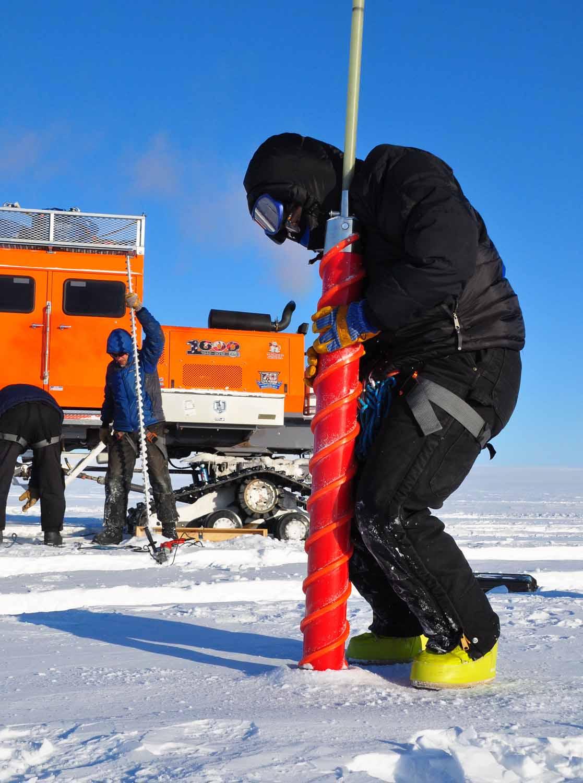 SAGE PI Zoe Courville taking a snow core. Photo: Robin Davies