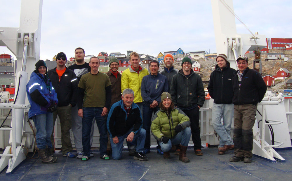 """The """"cruise crew."""" Having an interdisciplinary team adds to the research depth and scope, according to PI Ginny Catania. Photo: Marcy Davis"""