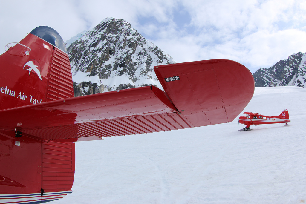 Talkeetna Air Taxi and K2 planes sit on the Ruth Glacier Mountain House landing strip.