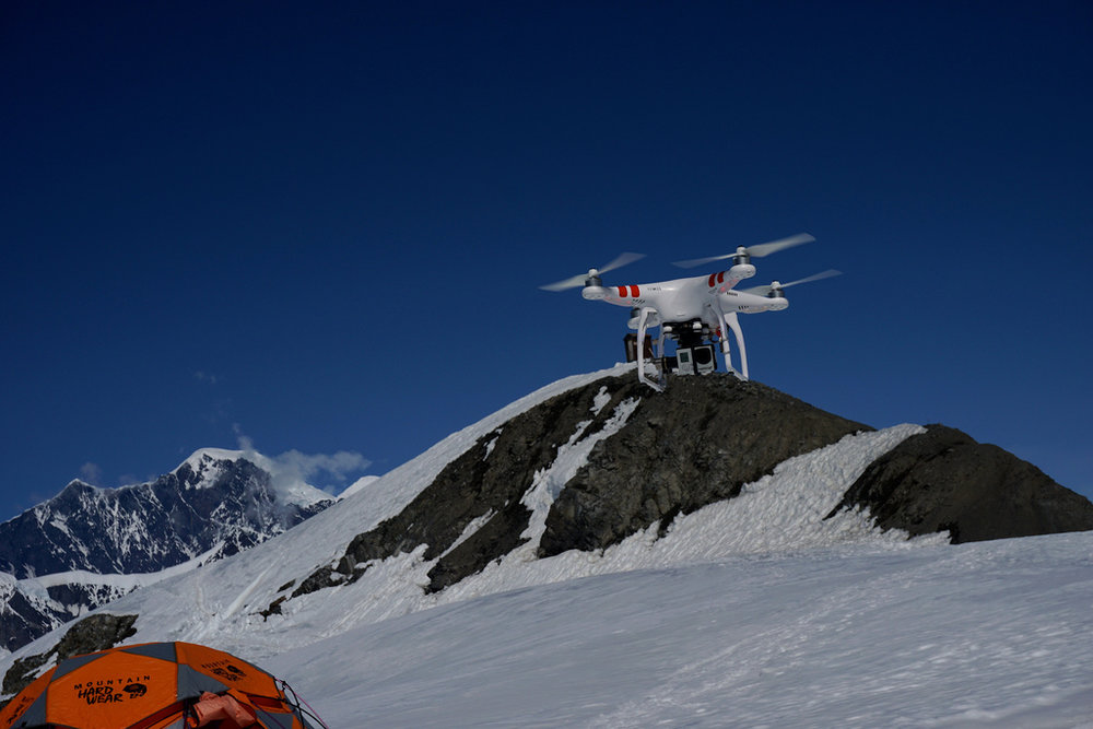 Miles O'Brien's drone attempts to fly on the Ruth Glacier.