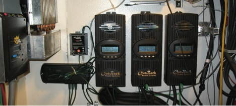 The re-worked PV charge controllers and monitoring system. Controlling each array independently overcomes problems with differential voltages and increases system efficiency.