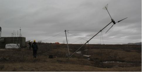 The team raises the new wind tower. All photos: Tracy Dahl