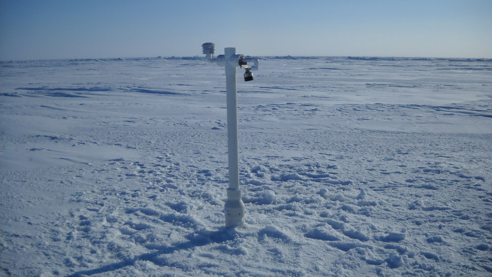 A Seasonal Ice Mass Balance buoy designed and built at Cold Regions Research and Engineering Laboratory records air temperature, air pressure, snow and ice thickness as well as a temperature profile in the air-snow-ice-ocean. An international consortium is installing machines to collect data to understand what causes the changes to the snow and ice thickness. Data from this particular buoy can be viewed on our buoy web page at http://imb.erdc.dren.mil/2013D.htm