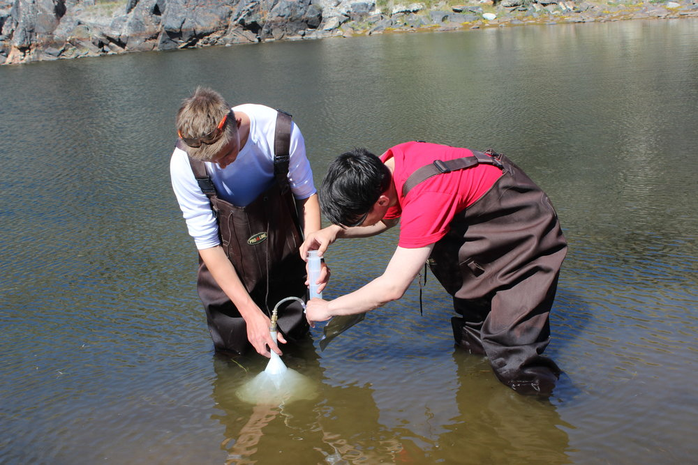 Students take water samples during one of their excursions as part of JSEP 2014.