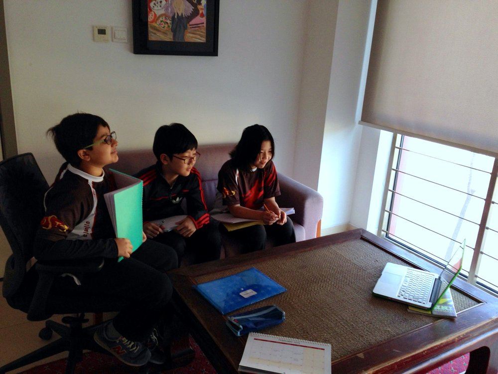 Students in Tianjin, China talking with Jason Briner during a Skype session. Photo: Diana Garcia Lavigne