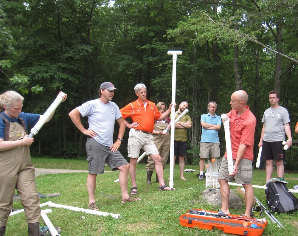 Martin discussing lake sediment coring with Geoscience teacher workshop participants in Amherst MA. Photo: Erin Martin