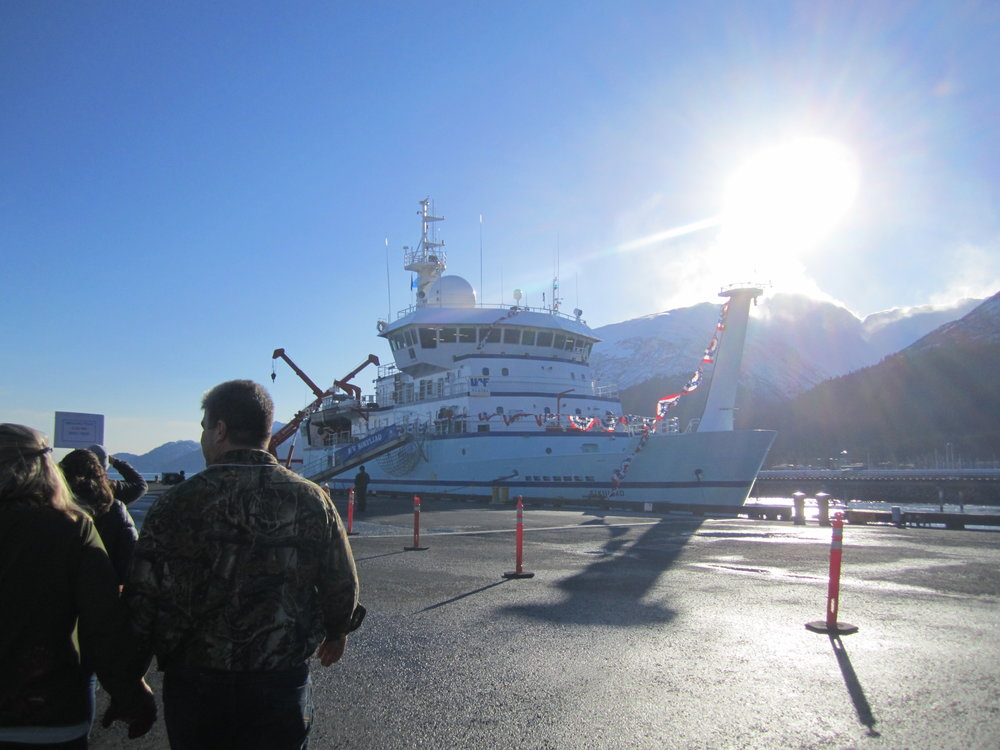 Chilly rain cleared as if to welcome the Sikuliaq home to Seward, Alaska. Photo: Christie Haupert