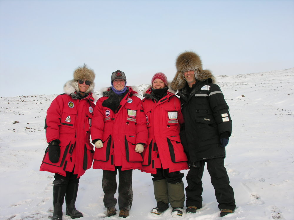 The U.S. science team during the 2009 PolarTREC sediment coring expedition to Lake El'gygytgyn in Siberia. Pictured left to right: Dr. Julie Brigham-Grette, U. Mass, Addie Holland, U. Mass, Christina Brady -LaCore, University of Minnesota, Tim Martin, Polar TREC teacher, Greensboro Day School. Photo: Tim Martin, courtesy of ARCUS