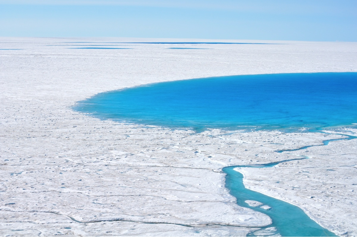 A supraglacial lake on the western margin of the Greenland Ice Sheet. Photo: Laura A. Stevens