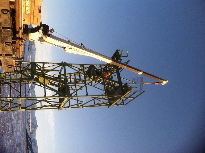 Tower construction during spring 2015 at the NEON Healy site. The Healy site is the first NEON Alaska site that will come on-line. Photo: NEON Alaska