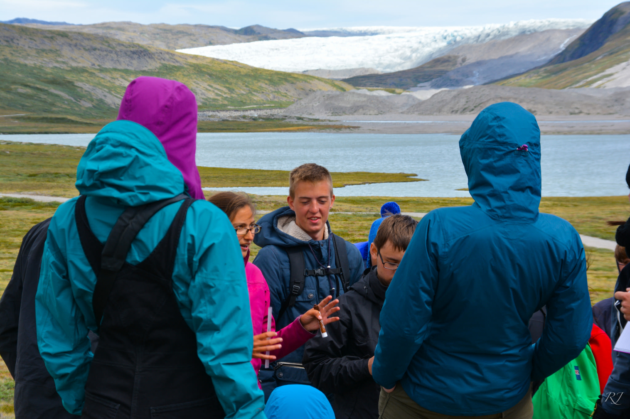 Day hike near Kangerlussuaq, Greenland. Lakes are formed by water running off of the Greenland ice sheet, seen in background. Photo: JSEP 2015