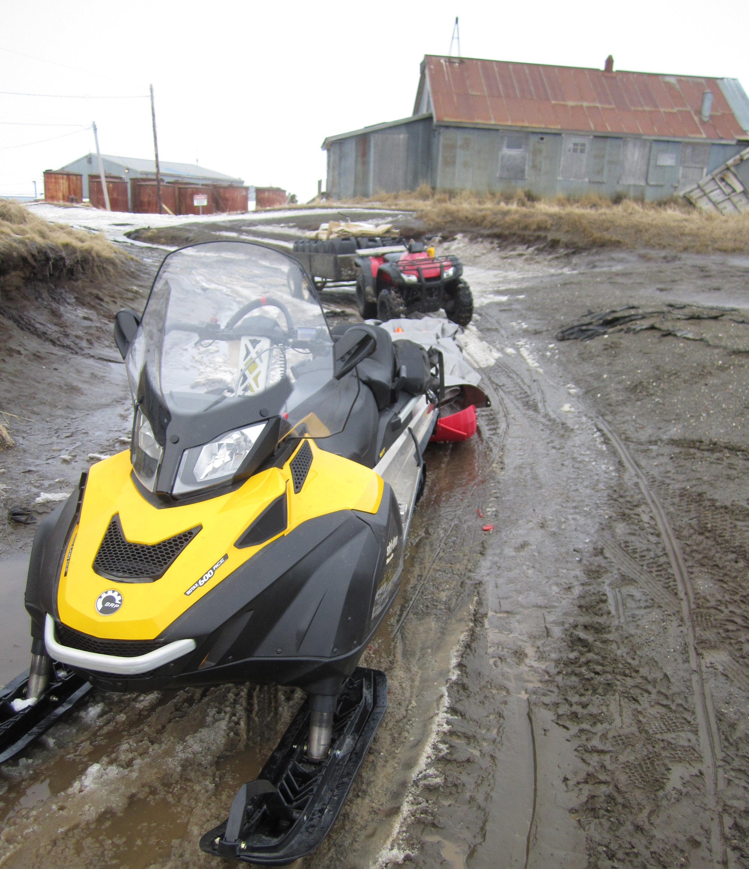 Spring 2014: Clearly conditions in Chevak do not favor using snowmobiles for put-in. Photo: Matt Irinaga
