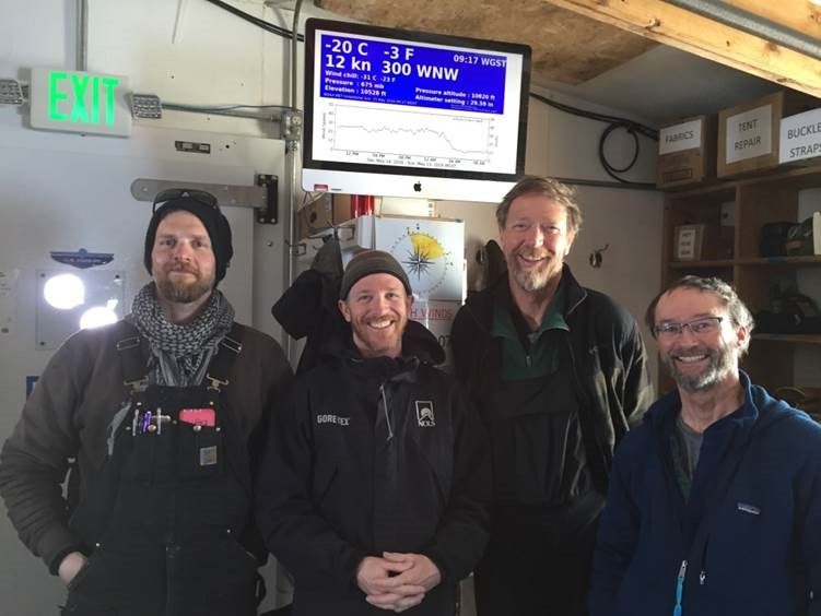 GrIT team looking well-rested after a short respite at Summit Station. (L-R) Ben Toth, Galen Dossin, Robin Davies, Pat Smith. Photo: Kaija Webster