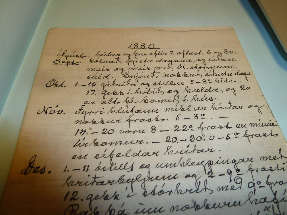 A document in the local archive at Husavik, not far from the Myvatn area, that shows information and meteorological observations for the very cold year of 1880. Photo: Astrid Ogilvie
