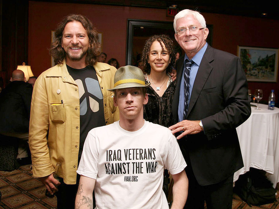 "Eddie Vedder, Tomas Young, Ellen Spiro and Phil Donahue at the Premiere of ""Body of War"" at the Toronto International Film Festival"