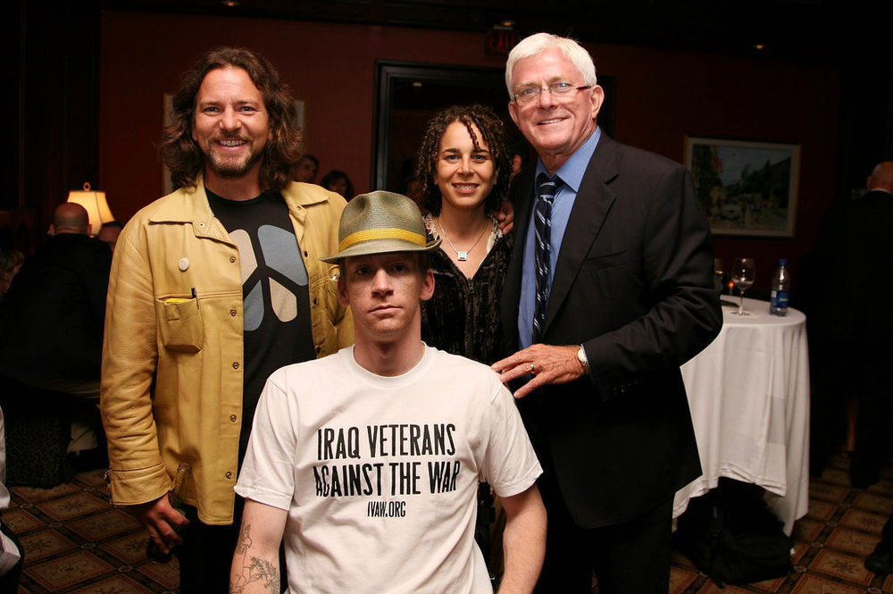 Eddie Vedder, Tomas Young, Ellen Spiro and Phil Donahue at the Premiere of Body of War at the Toronto Int'l Film Festival