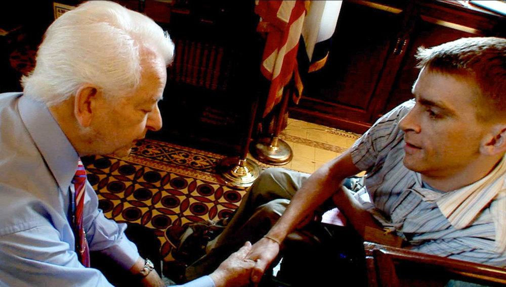 Tomas Young and Senator Robert Byrd, Washington, D.C., from the film 'Body of War'