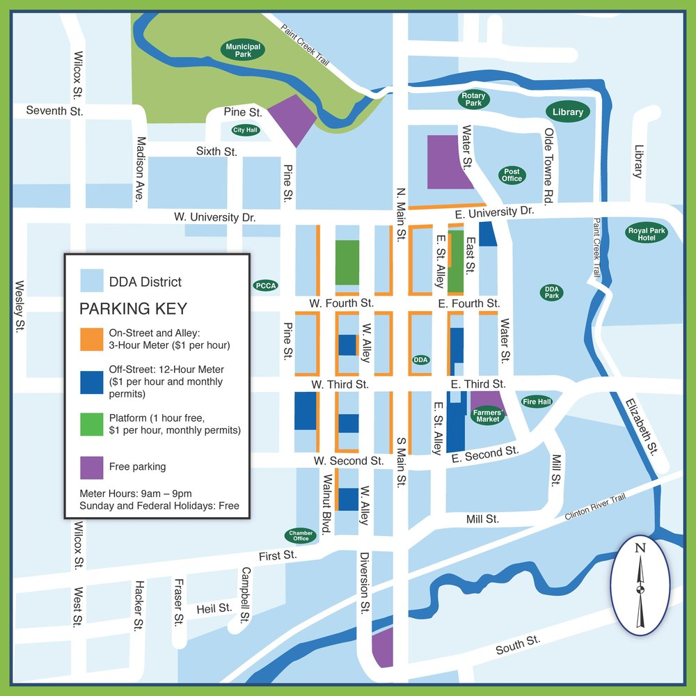 Parking Map Downtown Rochester MI - Mi map