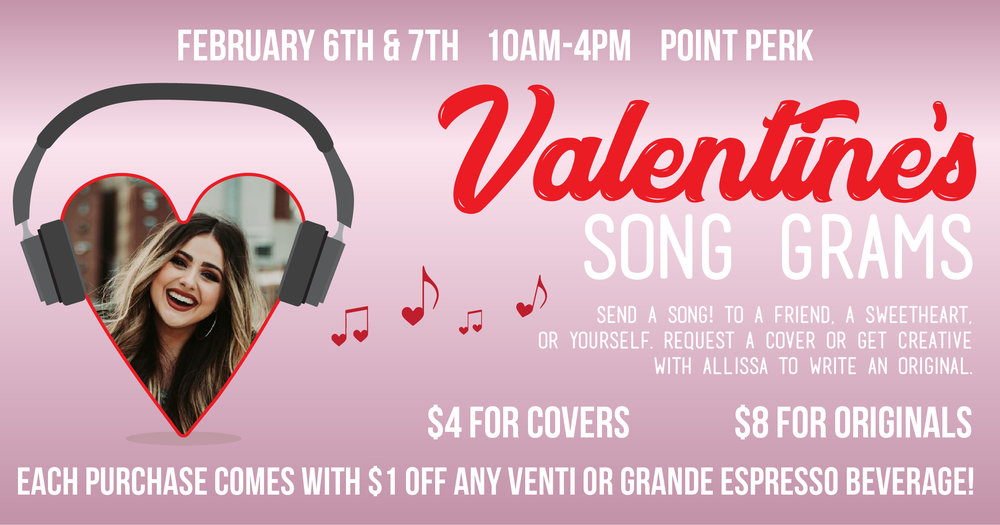 "Help support Pioneer Records' Pioneer Star— Allissa Logsdon! On February 6th and 7th, join Pioneer Records at Point Perk to request your song gram by Allissa. Allissa will record a short ""jingle"" that will be posted on the Pioneer Records Instagram page on Valentine's Day! Just let us know who we should tag!   Purchases made on February 6th and 7th come with a Point Perk coupon! Receive $1 off any Venti or Grande espresso beverage. Valid through February 7th.   Song Grams are available on a first come, first served basis."
