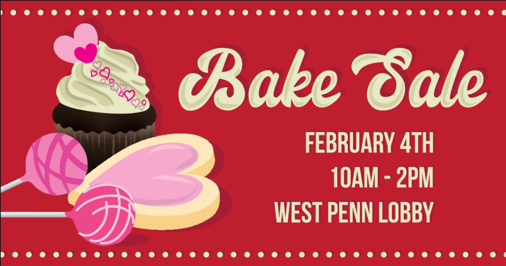 Get some treats at our bake sale while you wait in line for the elevator 🍪 Monday, the 4th, WP Lobby 10am-2pm
