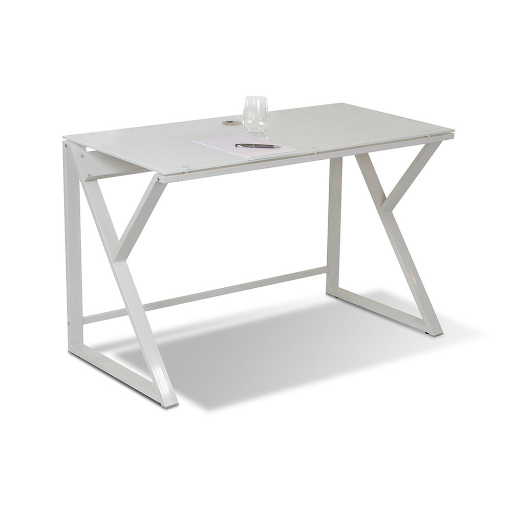 White Glass Computer Desk