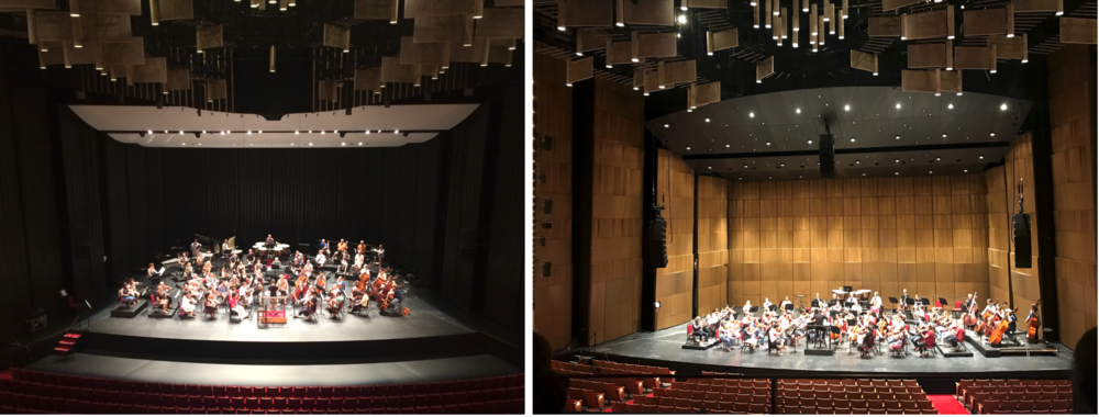 A before (left) and after (right) of the new orchestra shell