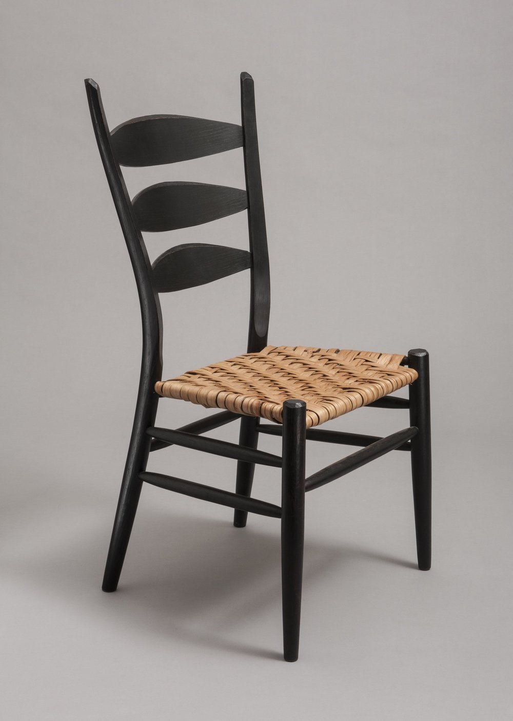 Boggs Side Chair; Oak with black milk paint