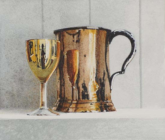 Gold Glass and Copper Tankard