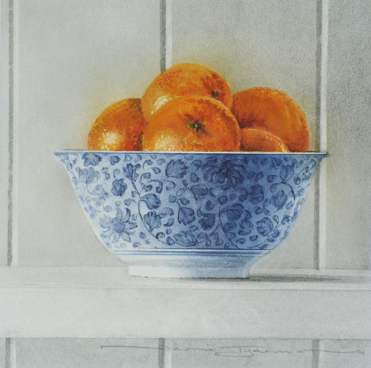 Tangerines in a Blue Bowl