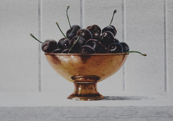Black Cherries in a Copper Bowl - 17 x 15