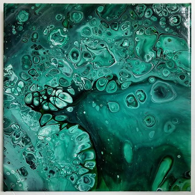 "12""x12"" x.75"" #acrylicpour. If it's not #turquoise or #teal I'm obsessing over, it's #phthalogreen! DM If interested in purchasing this piece! 😊"