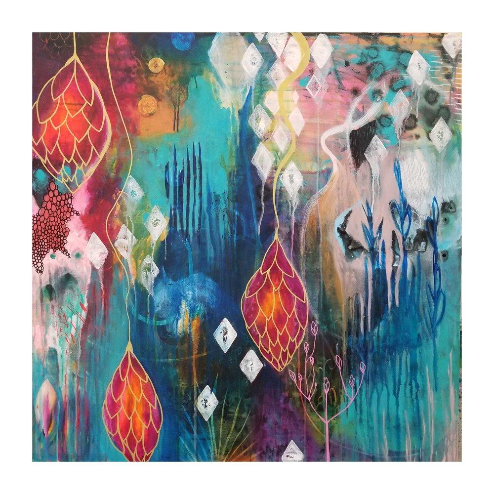"WTF, 2018 36""x36"" acrylic on canvas"