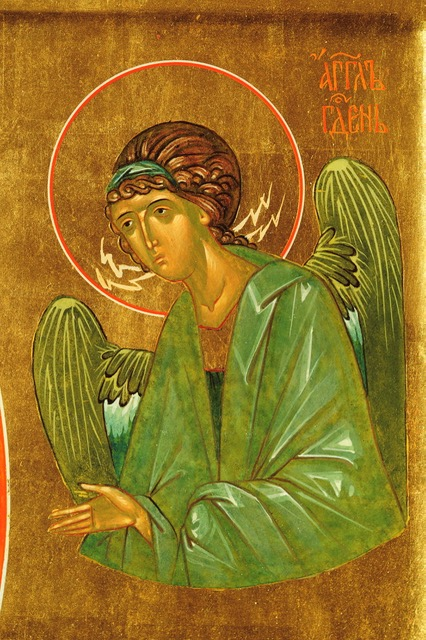 An Angel (detail from an icon of the Theotokos), 2012