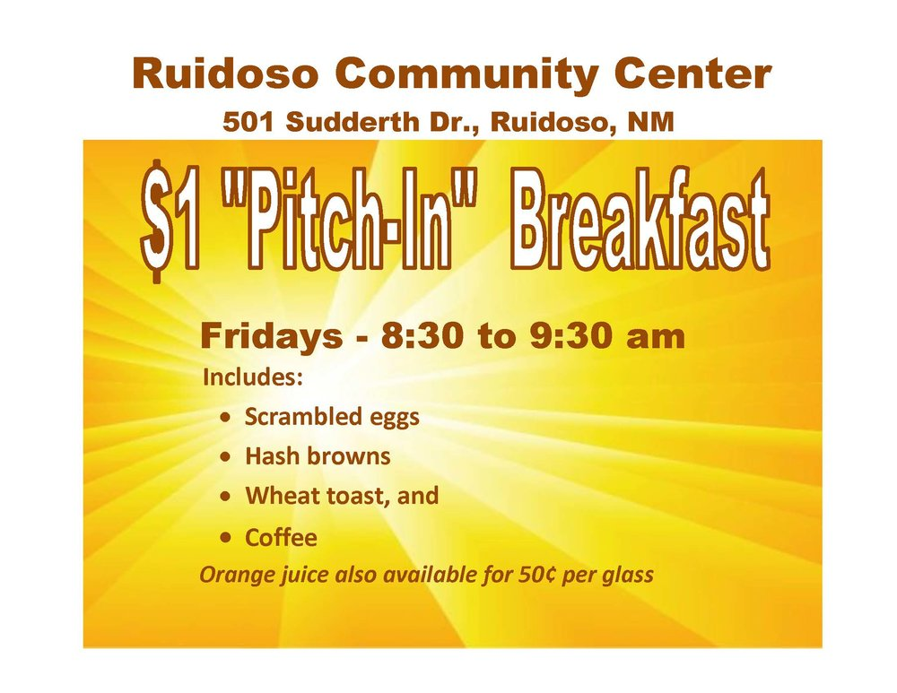 Senior Breakfast at the Ruidoso Community Center