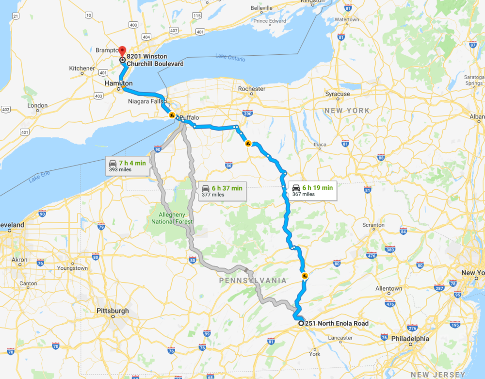 Map of route distance and time from central Pennsylvania and Brampton, Ontario