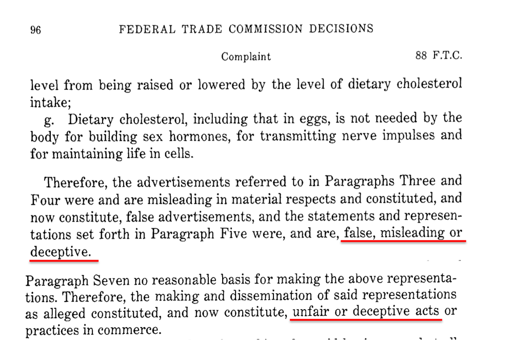 "A review by the U.S. Federal Trade Commission deems advertising by the egg industy is ""false, misleading or deceptive""."