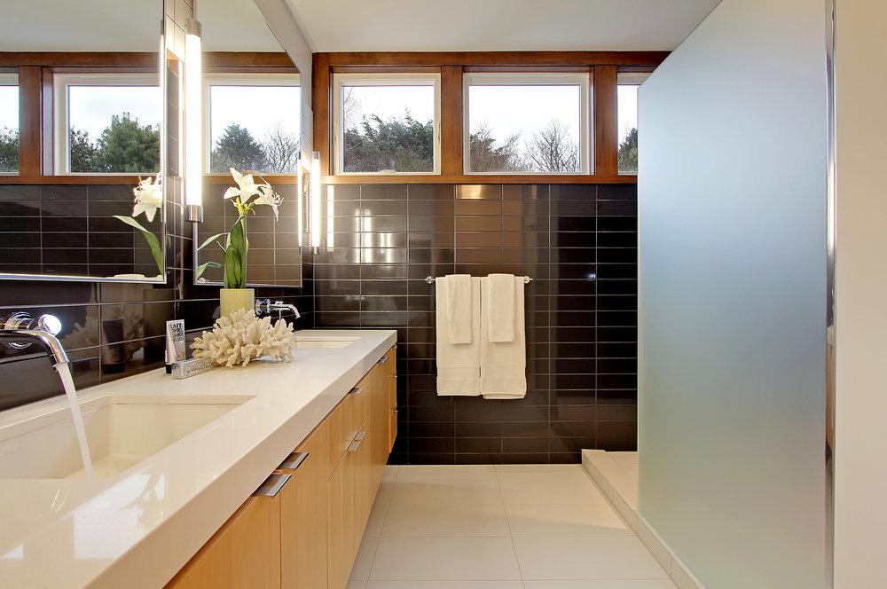 Modern Wood and Tile Bathroom