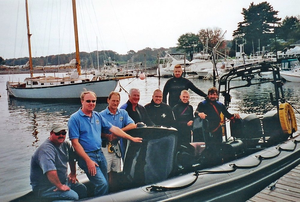 From left to right: Gardner Marshall, York Fire Chief Chris Balentine, Oceans Rescue International Joe Mokry, Chris Connors,   Luke Starkey, Wayne Avery, James Eslinger, David Butler.