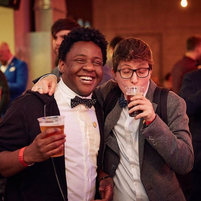 CJ and Arlie at the  British Podcast Awards  in 2017
