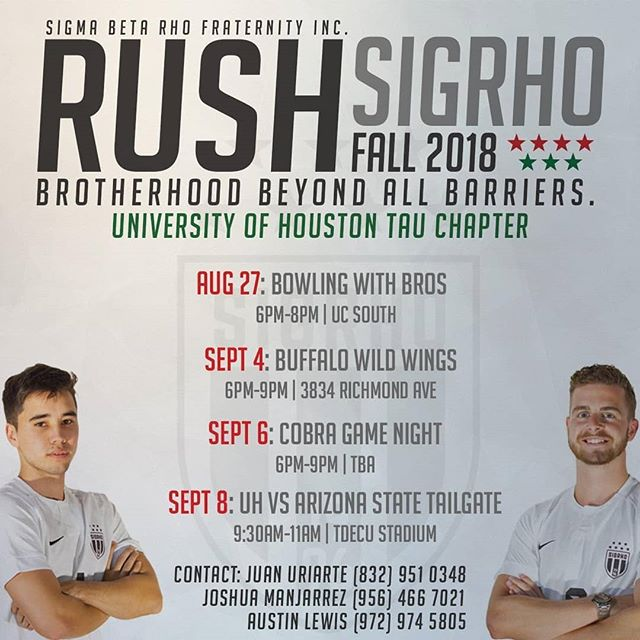 Ever thought about rushing a fraternity or know anyone that has ? Come rush for the fastest growing multicultural fraternity in the nation! #rushsigrho #sigrho #rushweek #rush #sigrhohouston #universityofhouston #gocoogs #uh20 #uh21 #uh22
