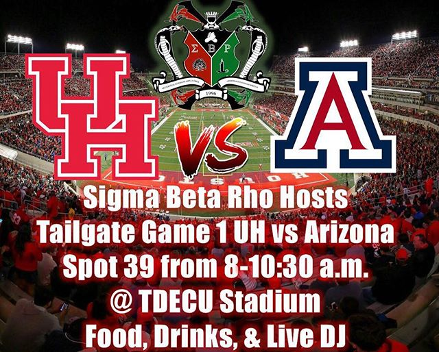 GAME DAY IS HERE🔥🔥🔥 🐾🏈 UH vs ARIZONA 🔥 • • • TOMORROW!!!! • • Date - September 8th  Location- TDECU stadium LOT #39 Time - 8:00AM - 10:30AM  Come get hyped for the game at the SIGHRO TAILGATE😈😈🔥🔥 #universityofhouston #sigmabetarho #uhgreeks #uh21 #uh19 #sigrhohouston #sigrhotailgate #uh22 #gocoogs