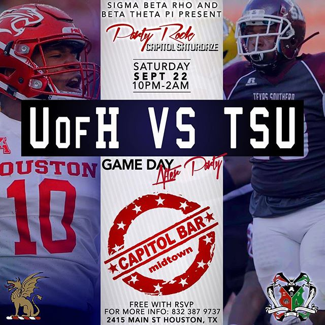 GAME DAY AFTER PARTY 🏈🐾 🔥@capitolbar  @sigmabetarho X @beta_houston 🍷 Time - 10:00PM - 2:00AM  FREE ENTRY WITH RSVP. LINK IN BIO 👆🏽 • • •  #gocoogs #uh19 #uh20 #21 #universityofhouston #uhgreeks #houstonparties #houstondowntown