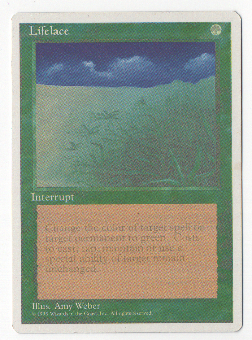 This Lifelace was printed when the printers were running low on black ink. Cards missing the black layer in the art are the coolest looking variant of this type of misprint (in my opinion).