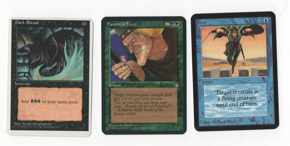 From left to right: Alpha Cut 4th Edition, Alpha Cut Ice Age, and Just a normal Alpha Card for comparison