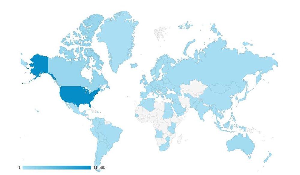 People from each country highlighted blue have visited misprintedMTG.com!  That's 116 different countries!!!!!!