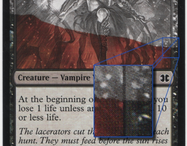 While this Vampire Lacerator has a severe blotch and isn't technically 'albino' it serves as a good example of what to look for on albinos.  We can see the part of the card with the C, M, & Y dots and the section above it missing those dots of color entirely.