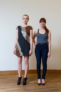 Lexine Schumm (Right) with the model wearing her beautiful dress created with hearing aid batteries and copper wire.