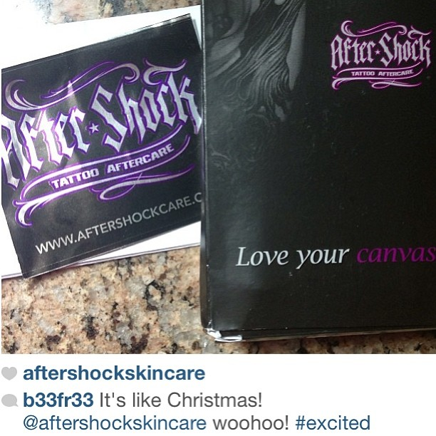 Contest winner @b33fr33 just got her aftershock in the mail! Thank you for the post 💜 #contest #aftershock #tattoos