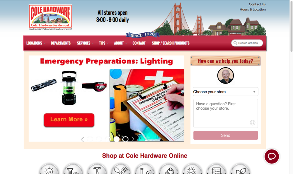 Current Cole Hardware landing page