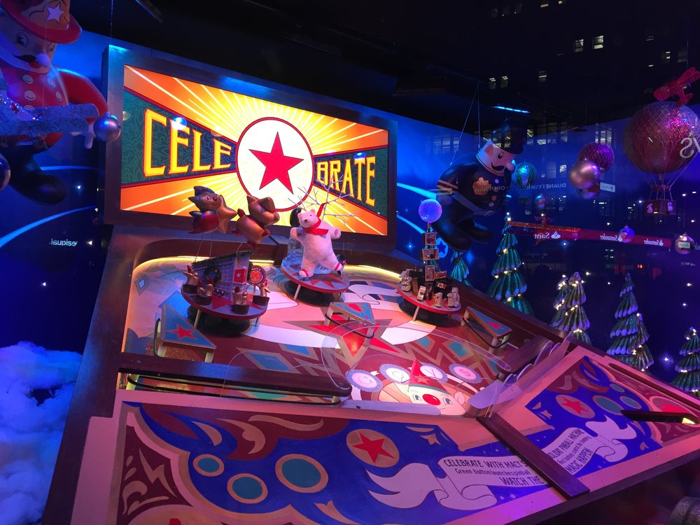 An interactive giant pinball machine